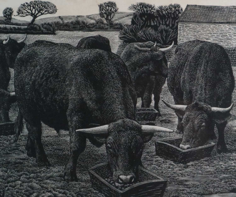 Charles Frederick Tunnicliffe OBE RA (1901-1979) Bullocks