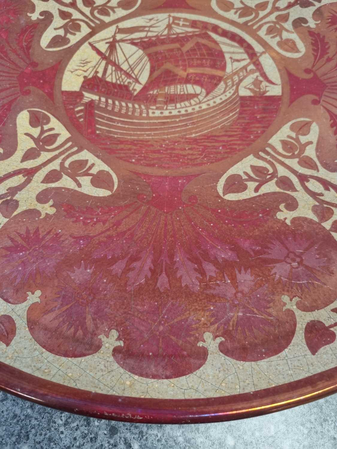 A Maw and Co ruby lustre galleon charger, circa 1880 - Image 5 of 6