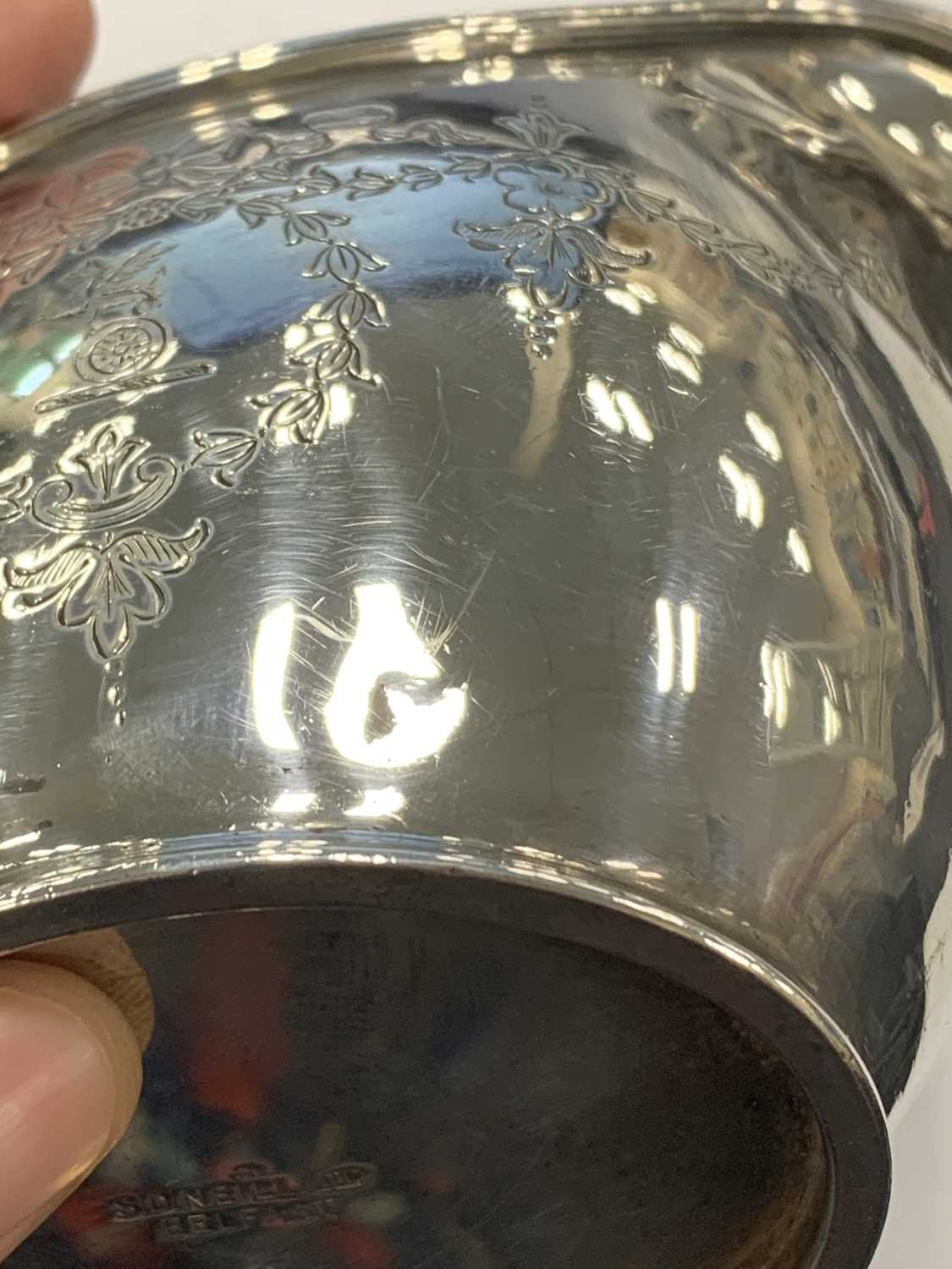 An early 20th century three piece silver tea service - Image 3 of 15