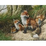 Adrian C Rigby (b.1962) A Family of Foxes