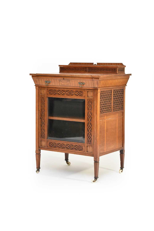 An unusual Edwardian inlaid Davenport type desk