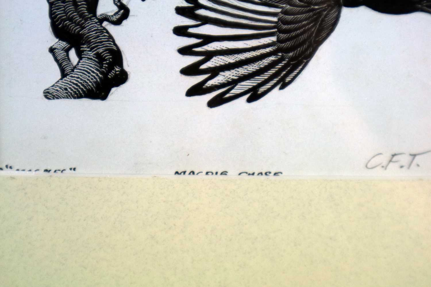 Charles Frederick Tunnicliffe OBE RA (1901-1979) Magpie Chase - Image 3 of 5