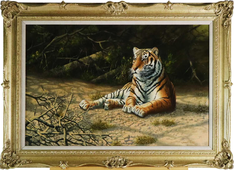 Adrian C Rigby (b.1962) A Tiger Resting - Image 2 of 8
