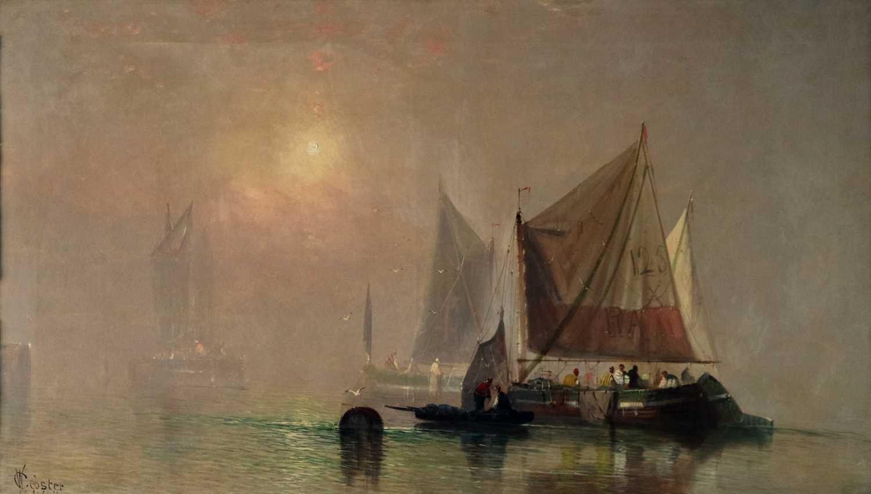 Charles Webster (British 19th Century) Misty Morning Near Grays, Essex