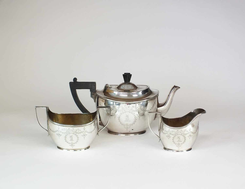 An early 20th century three piece silver tea service