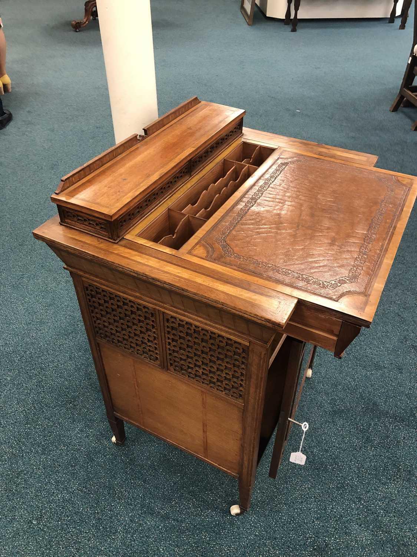 An unusual Edwardian inlaid Davenport type desk - Image 2 of 10