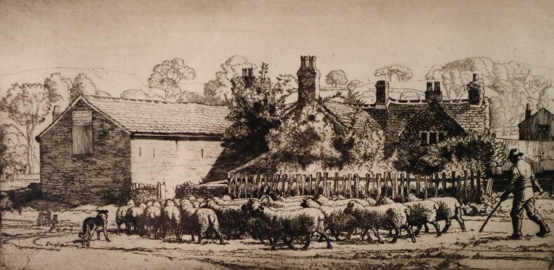 Charles Frederick Tunnicliffe OBE RA (1901-1979) Herding Sheep at Kemps Croft Farm
