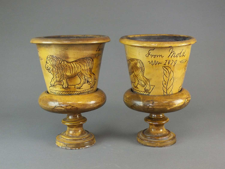 A pair of Buckley slipware flower pots - Image 3 of 4