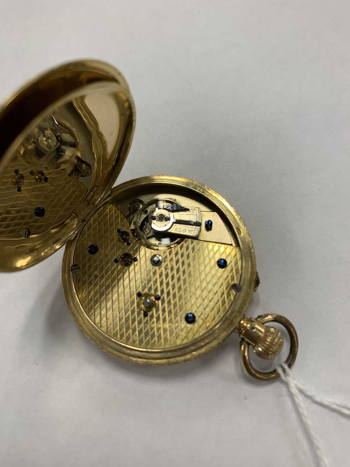 A continental 18k gold open face fob watch - Image 3 of 8