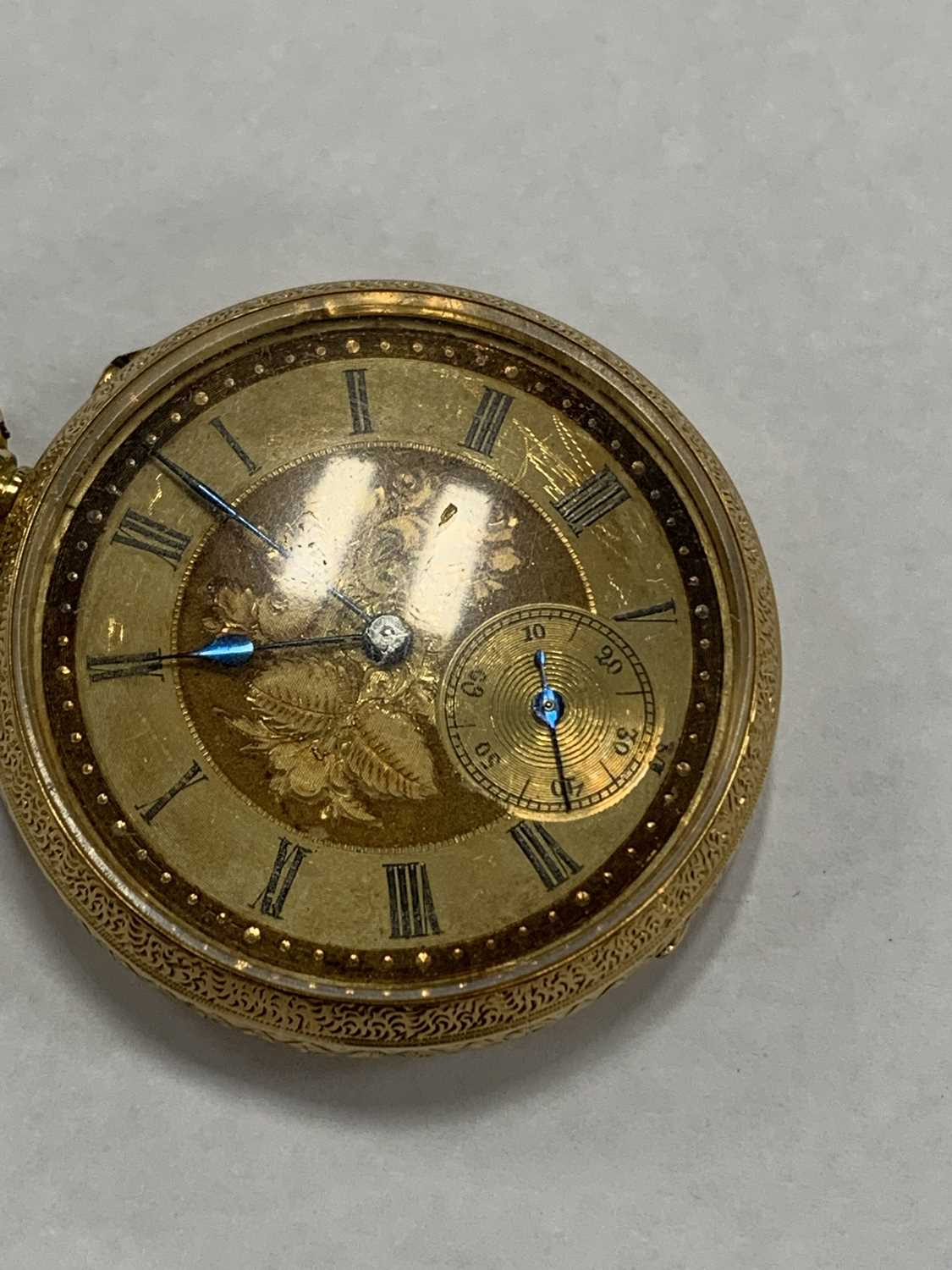 A continental 18k gold open face fob watch - Image 2 of 8