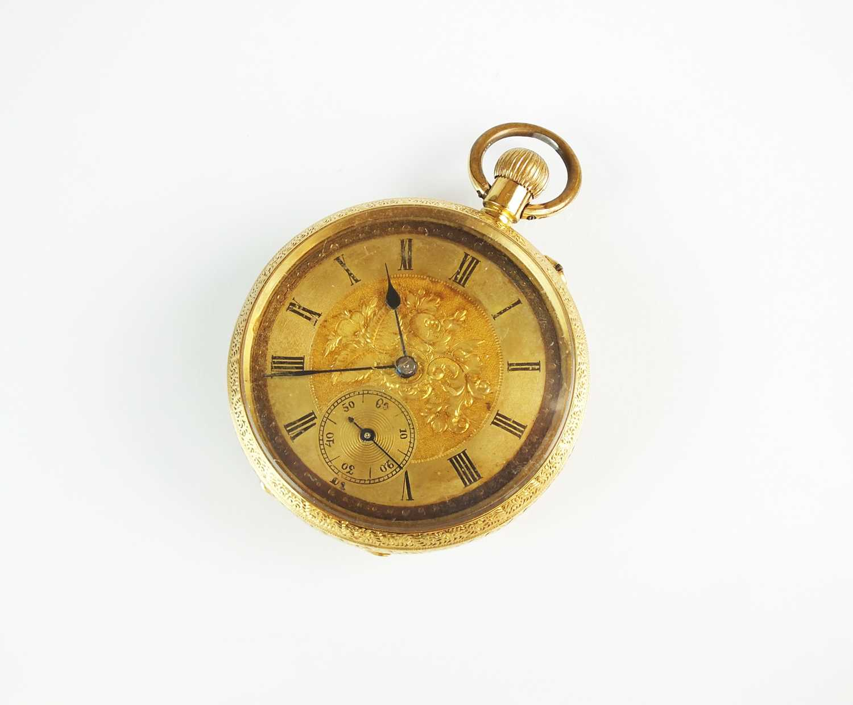 A continental 18k gold open face fob watch
