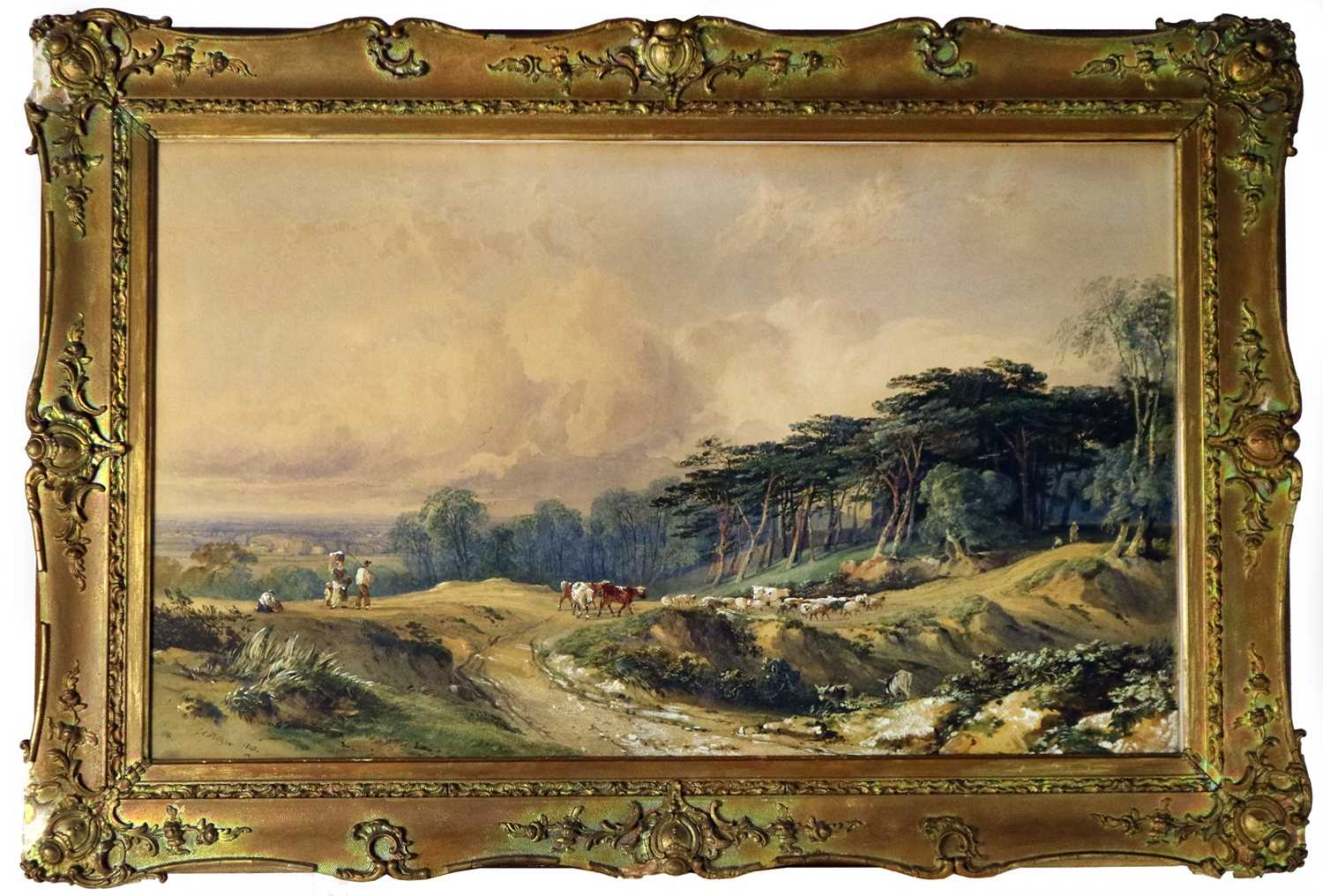 George Arthur Fripp RWS (British 1813-1896) Driving Cattle Down a Country Track - Image 2 of 5