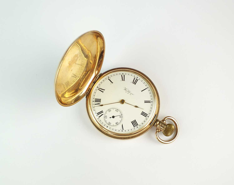 A Gentleman's 9ct gold Waltham full hunter pocket watch