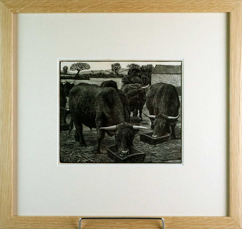 Charles Frederick Tunnicliffe OBE RA (1901-1979) Bullocks - Image 2 of 3