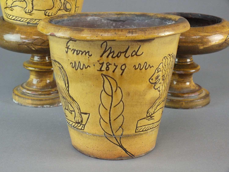 A pair of Buckley slipware flower pots - Image 2 of 4