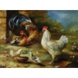 Attributed to Carl Jutz the Elder (1838-1916) Roaming Chickens in a Yard