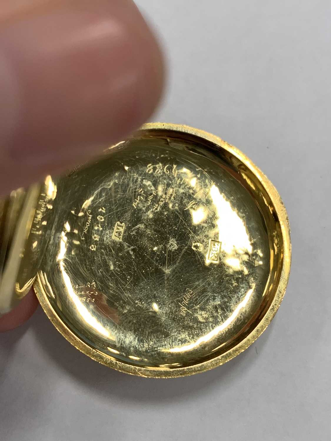 A continental 18k gold open face fob watch - Image 6 of 8