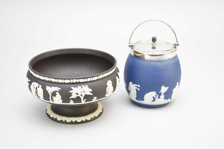 Wedgwood black jasperware fruit bowl, Adams blue jasperware biscuit barrel