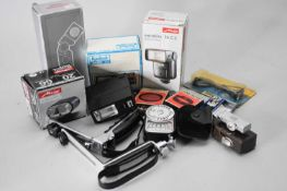 A collection of photographic accessories