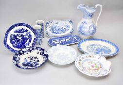 A collection of Victorian and later blue and white earthenware
