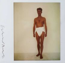 Edward Bell (British Contemporary) Polaroid of David Bowie in a Toga