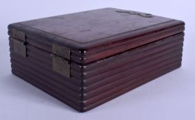 A 19TH CENTURY CHINESE HONGMU CARVED WOOD TRAVELLING BOX Qing, inset with a fitted interior and a mi