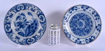TWO 18TH CENTURY DUTCH DELFT BLUE AND WHITE POTTERY PLATES painted with flowers and motifs. 22 cm di