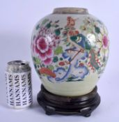 AN 18TH CENTURY CHINESE EXPORT FAMILLE ROSE PORCELAIN GINGER JAR Qing, enamelled with phoenix birds.
