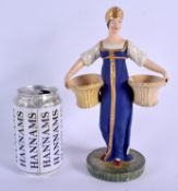 A VERY RARE EARLY 19TH CENTURY RUSSIAN PORCELAIN FIGURE OF A WOMEN probably Gardner Factory, Verbilk