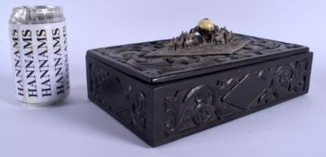 A 19TH CENTURY CHINESE EXPORT SILVER MOUNTED HONGMU BOX AND COVER Qing, decorated with flowers. 24 c