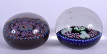 TWO EUROPEAN GLASS PAPERWEIGHTS. 6.5 cm wide. (2)