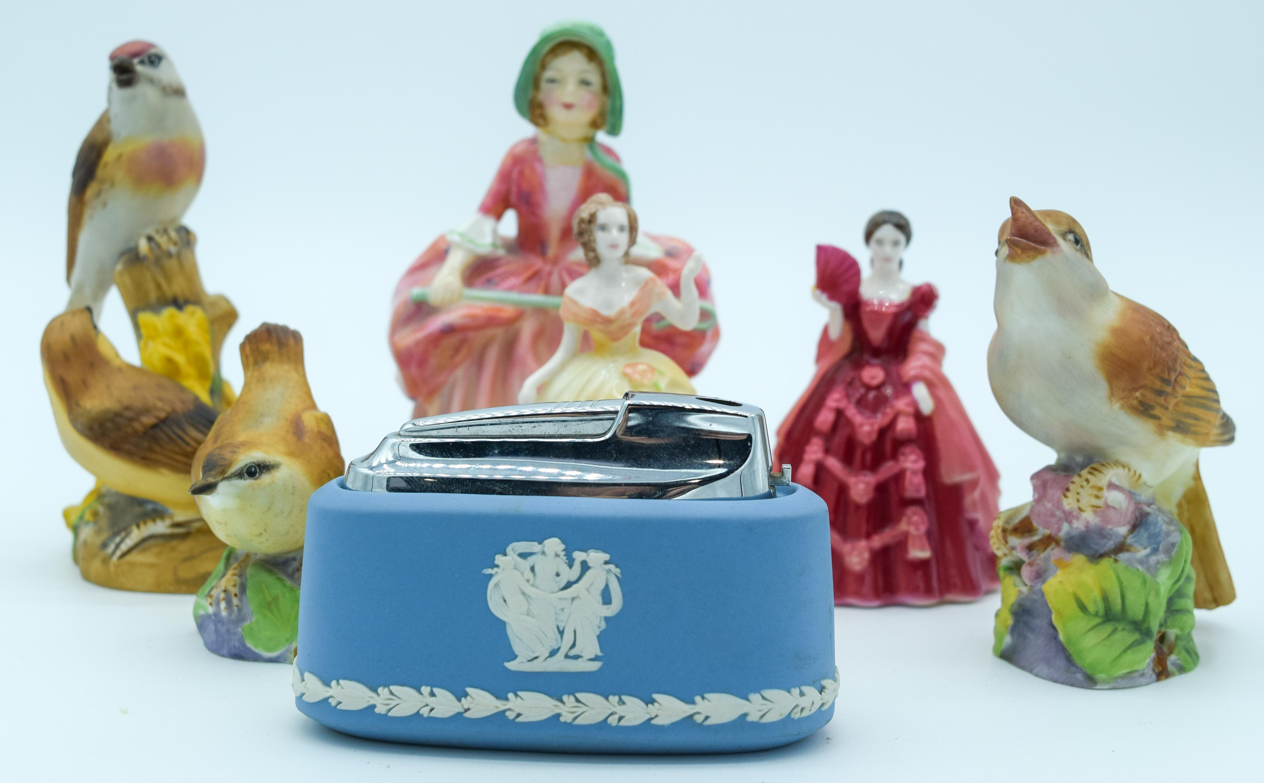 Collection of figures Coalport, Royal Worcester and Wedgwood largest 13 cm (7).