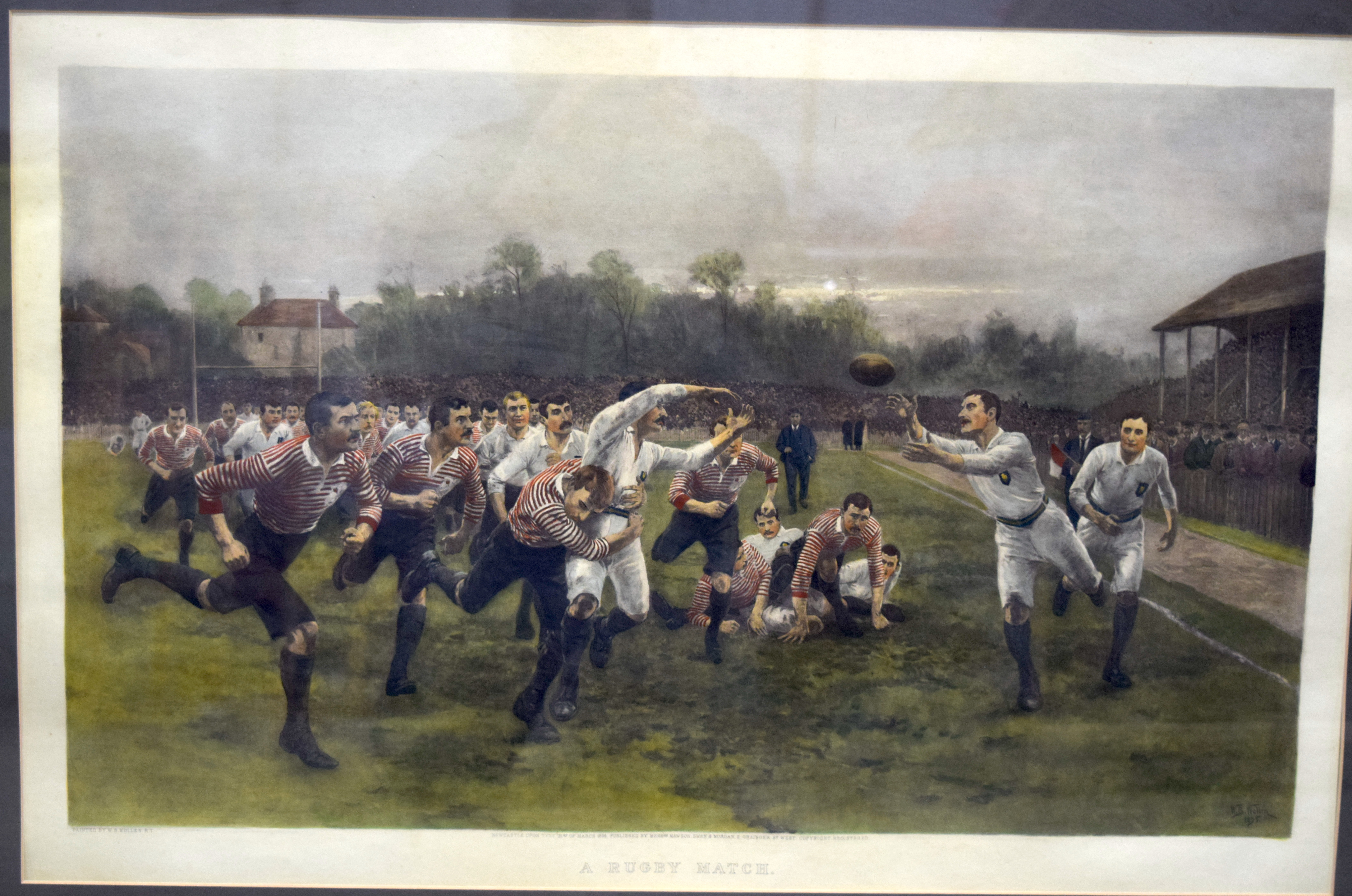A large print by W Wollen A rugby match 74 x 45cm. - Image 2 of 3