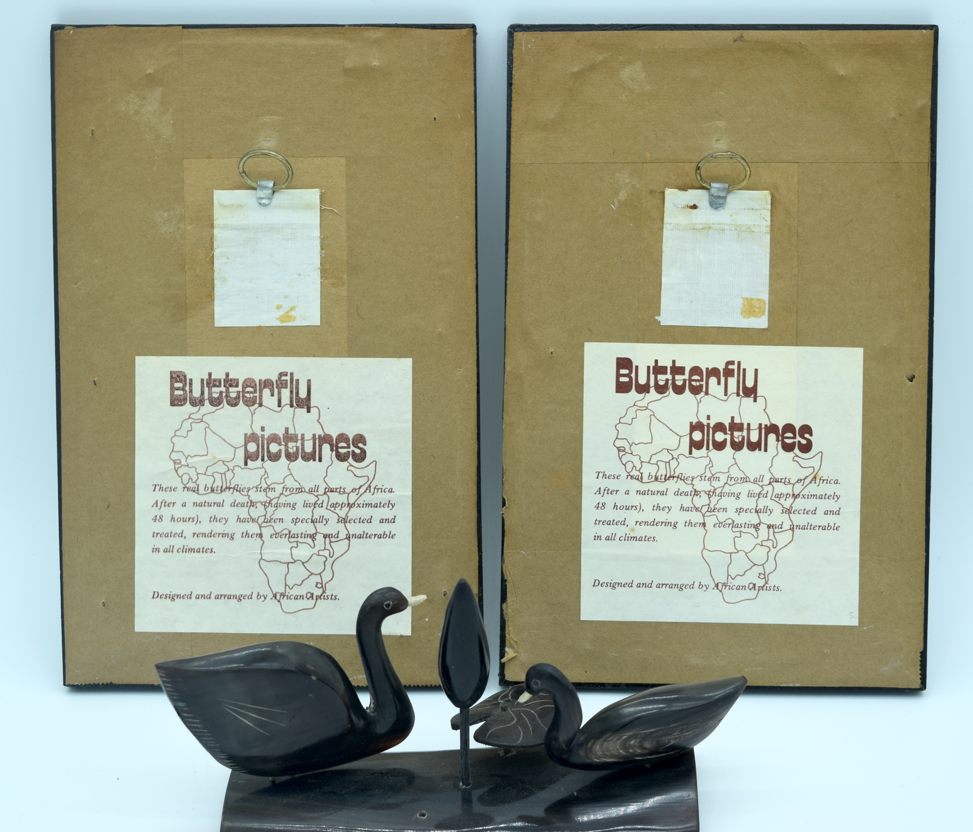 Two African Butterfly pictures and a horn sculpture of ducks 12 x 20.5 cm(3) . - Image 2 of 2