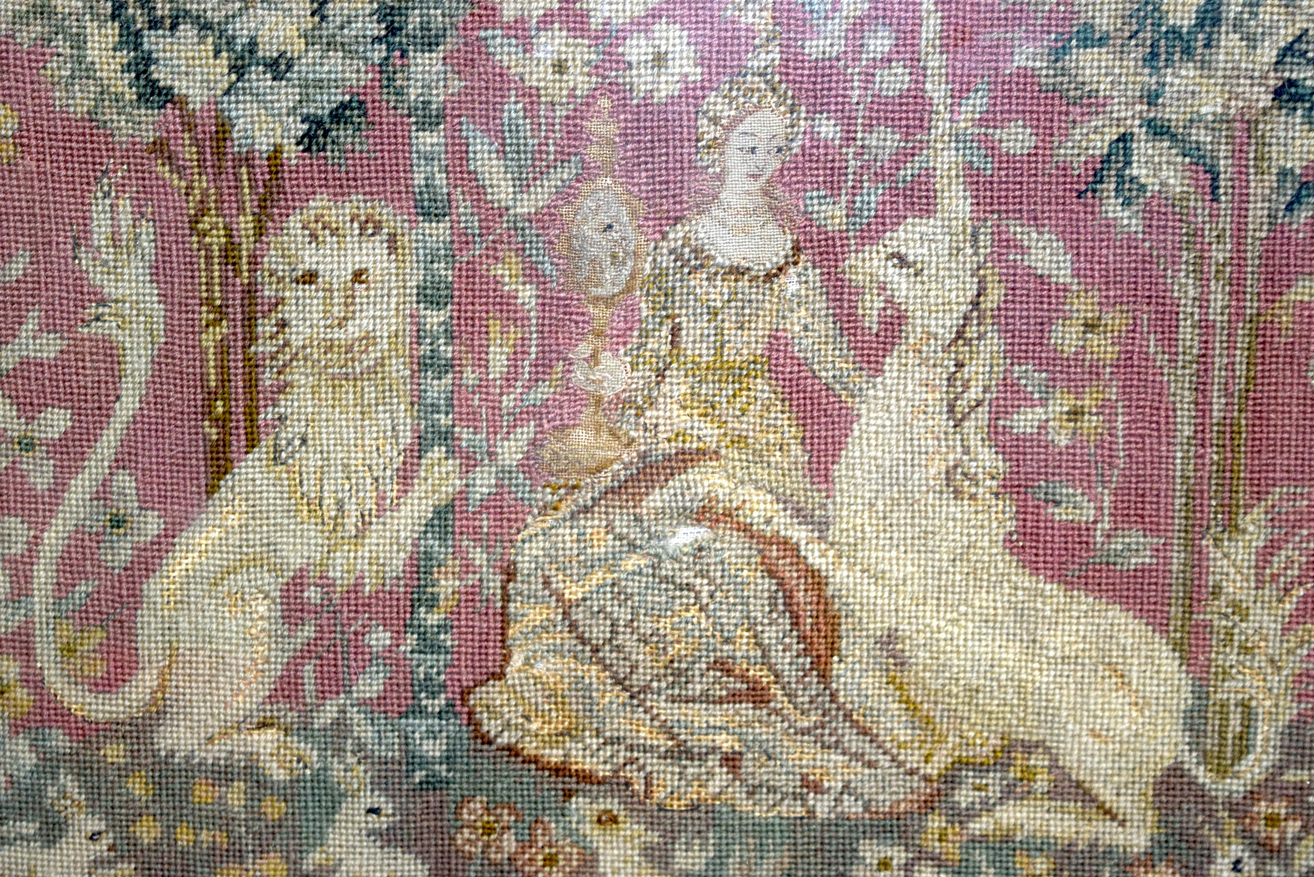 Framed tapestry of a Queen showing a standard and unicorn 94 x 56cm.. - Image 2 of 3