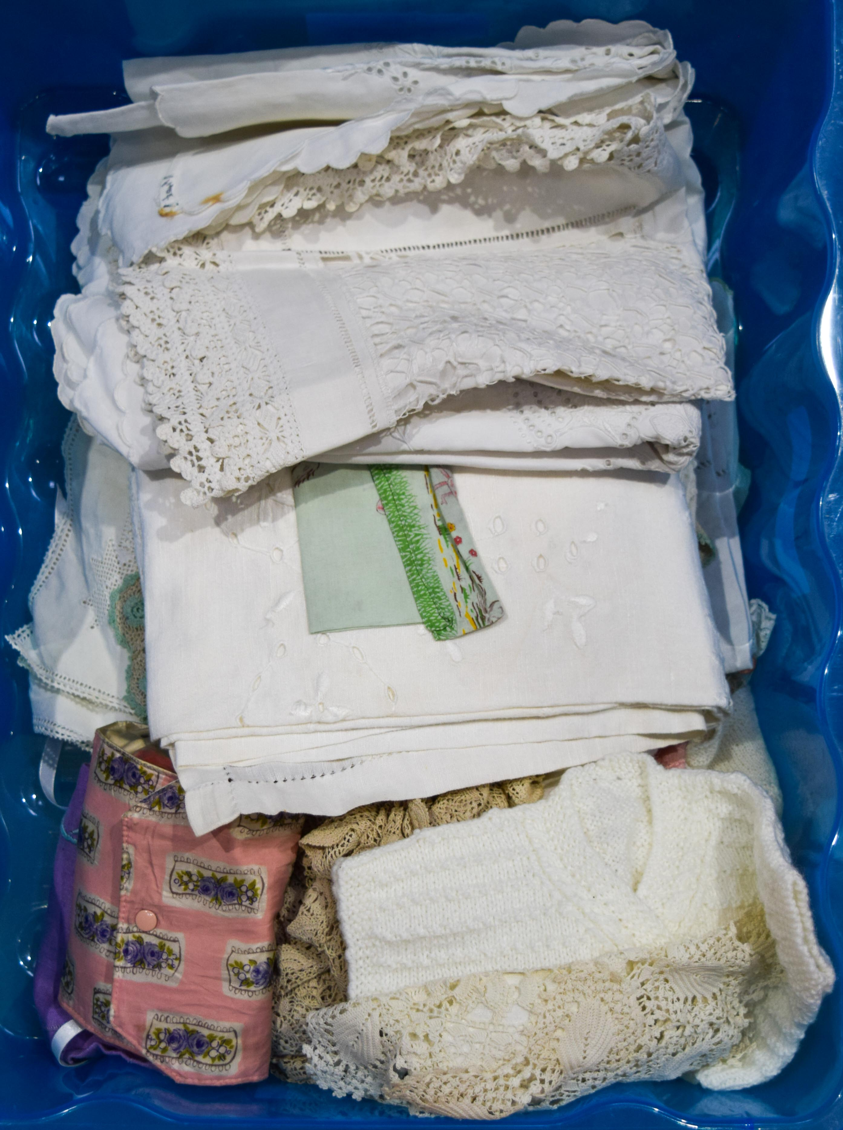 collection of vintage linen and wool items Qty.