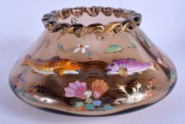 A LOVELY ART NOUVEAU ENAMELLED GLASS BOWL in the manner of Moser, decorated in relief with fish. 21