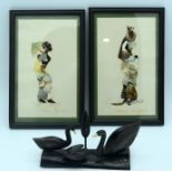 Two African Butterfly pictures and a horn sculpture of ducks 12 x 20.5 cm(3) .