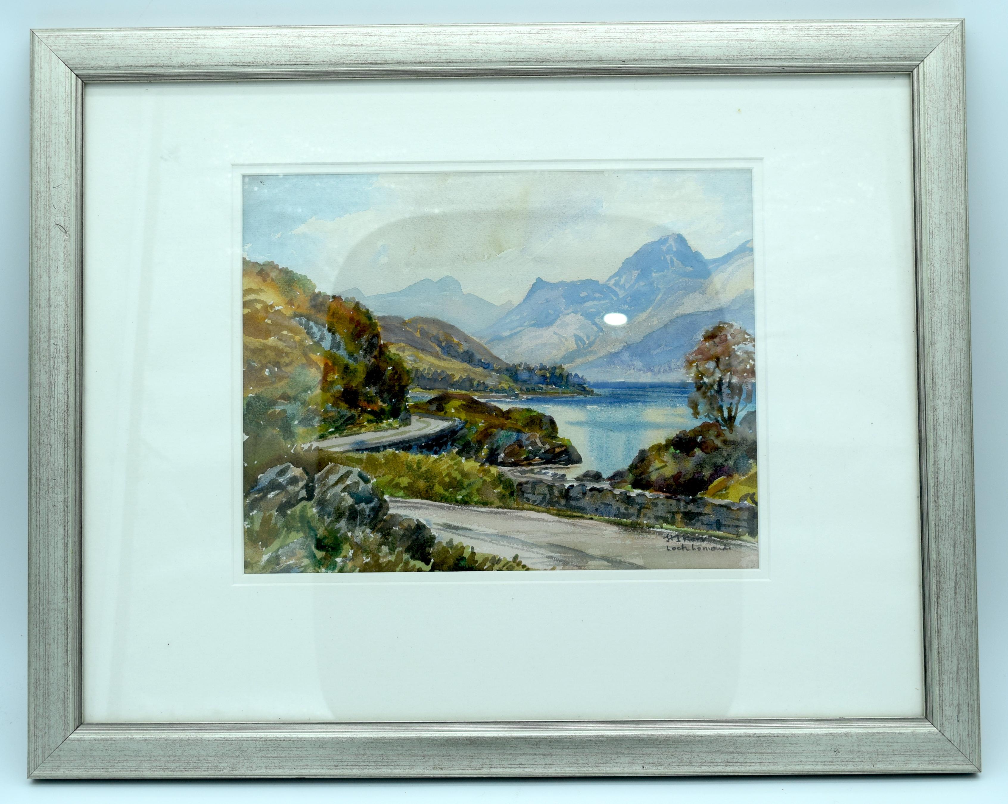 Framed watercolour of Loch Lomond 21 x 27.5 cm.