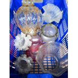 A collection of Vintage glass light fittings (14).