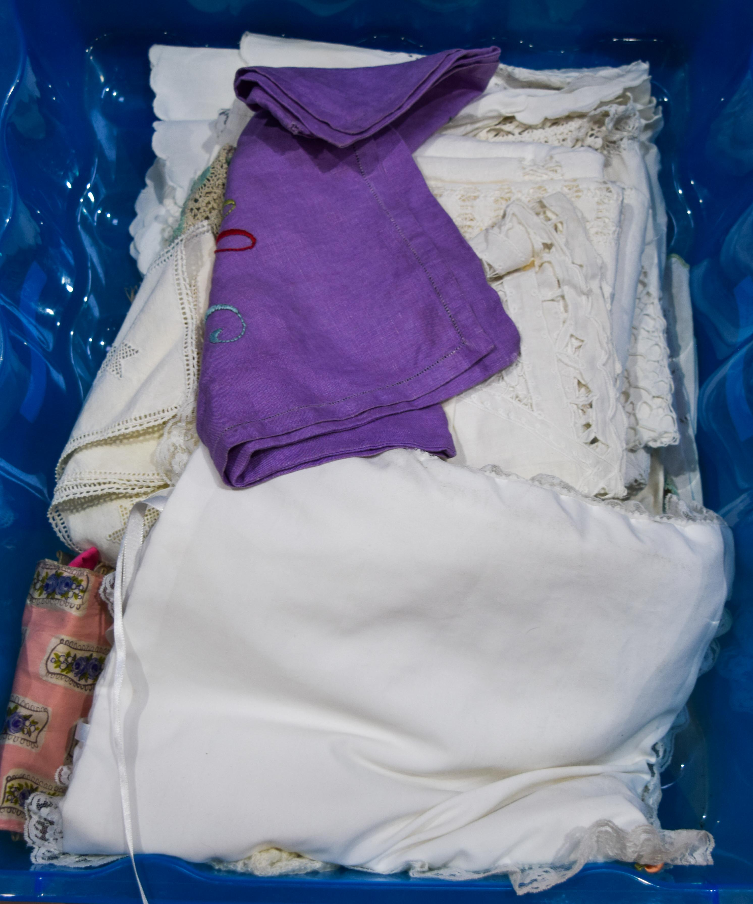 collection of vintage linen and wool items Qty. - Image 2 of 2