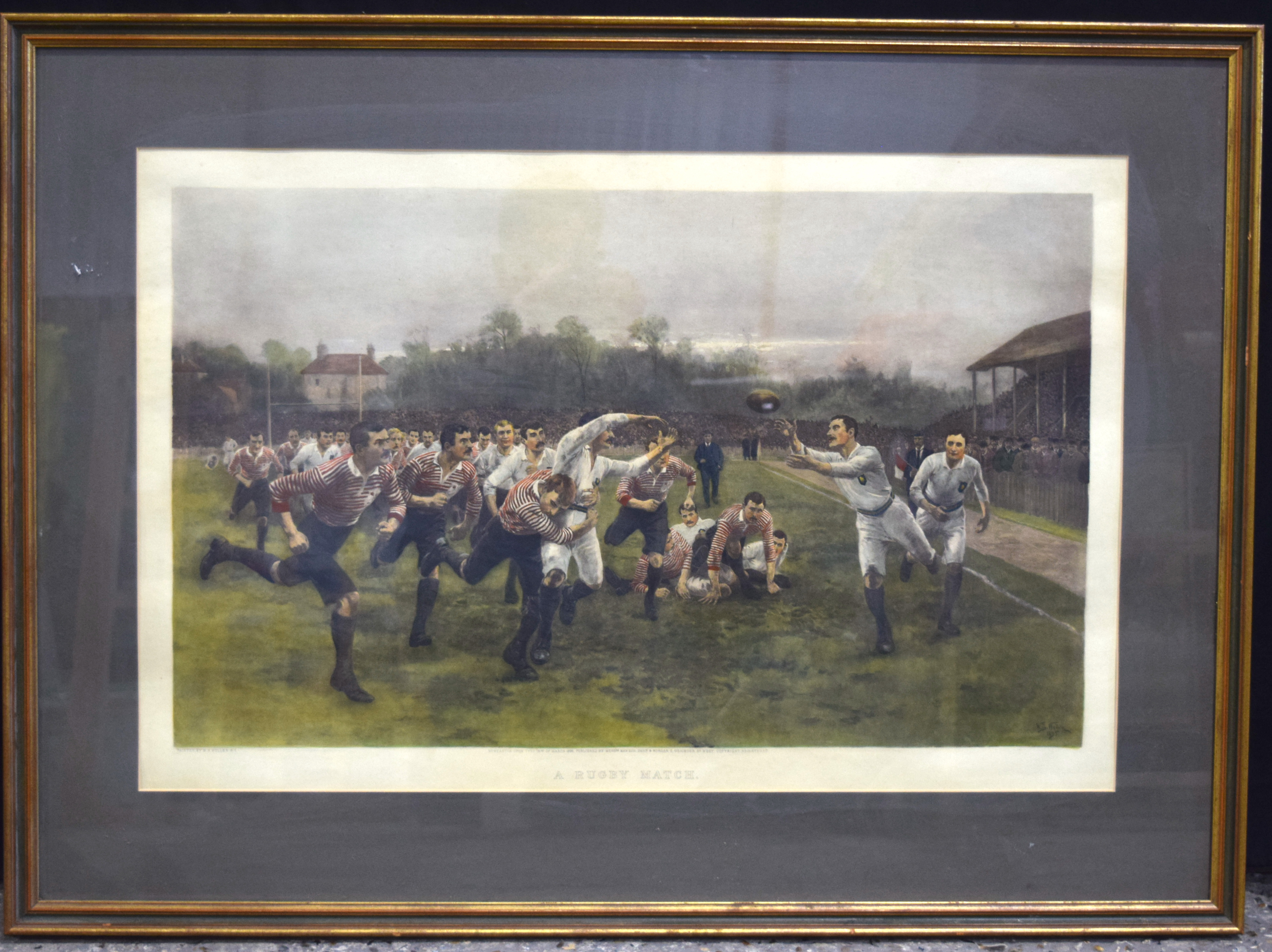 A large print by W Wollen A rugby match 74 x 45cm.