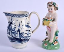 A LATE 18TH CENTURY ENGLISH PEARLWARE SPARROW BEAK JUG together with a Derby style figure. Largest 1