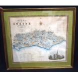 Framed map of Sussex by Greenwood and Co. 58 x 70cm.