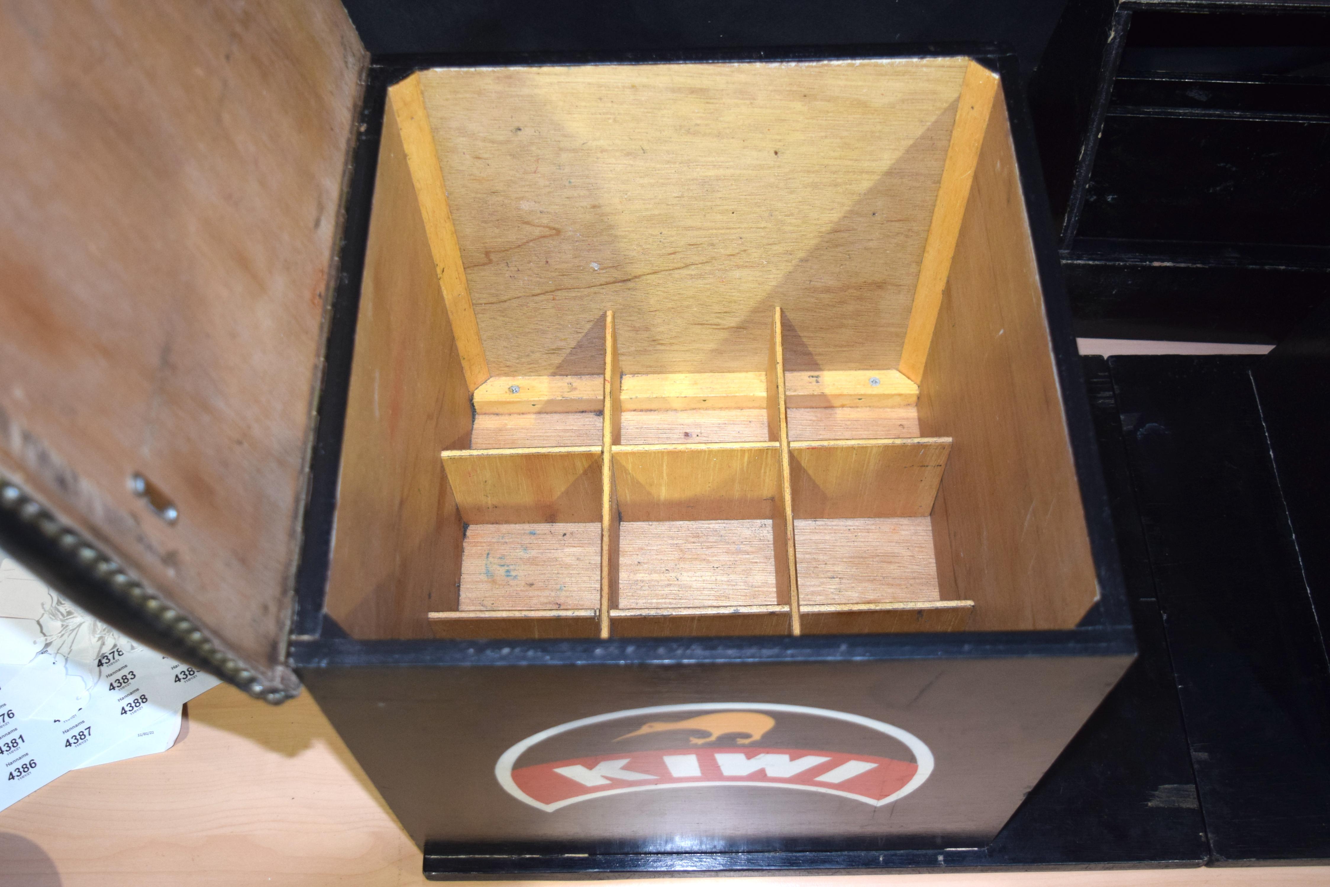 A vintage folding KIWI shoe polishing stand 99 x 43 cm. - Image 3 of 5