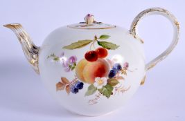 A 19TH CENTURY MEISSEN PORCELAIN TEAPOT AND COVER painted with fruiting vines. 21 cm wide.