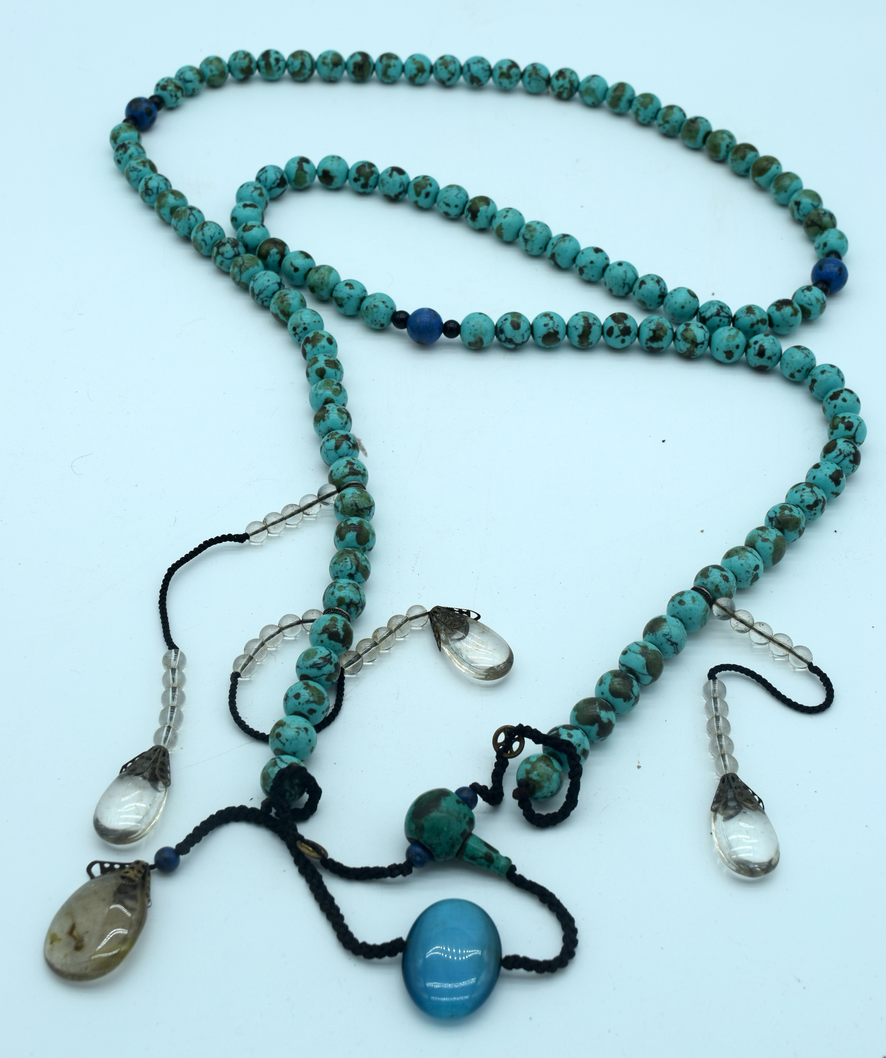 A long Turquoise stone necklace with hanging glass pendants 170cm. - Image 2 of 2
