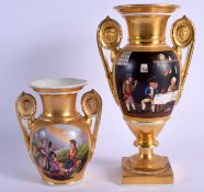 A LARGE EARLY 19TH CENTURY FRENCH PARIS PORCELAIN VASE together with a similar smaller vase. Largest