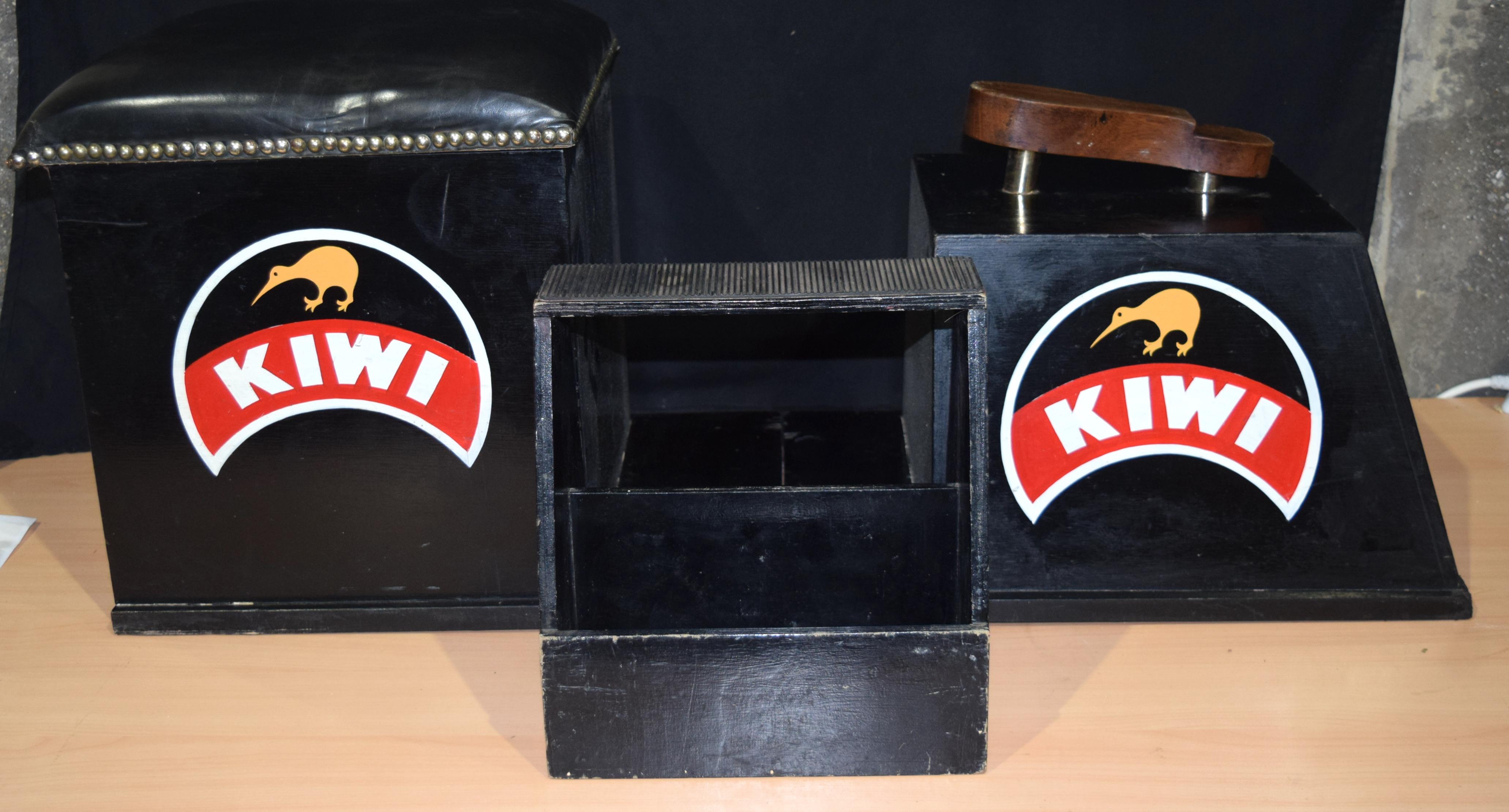 A vintage folding KIWI shoe polishing stand 99 x 43 cm.