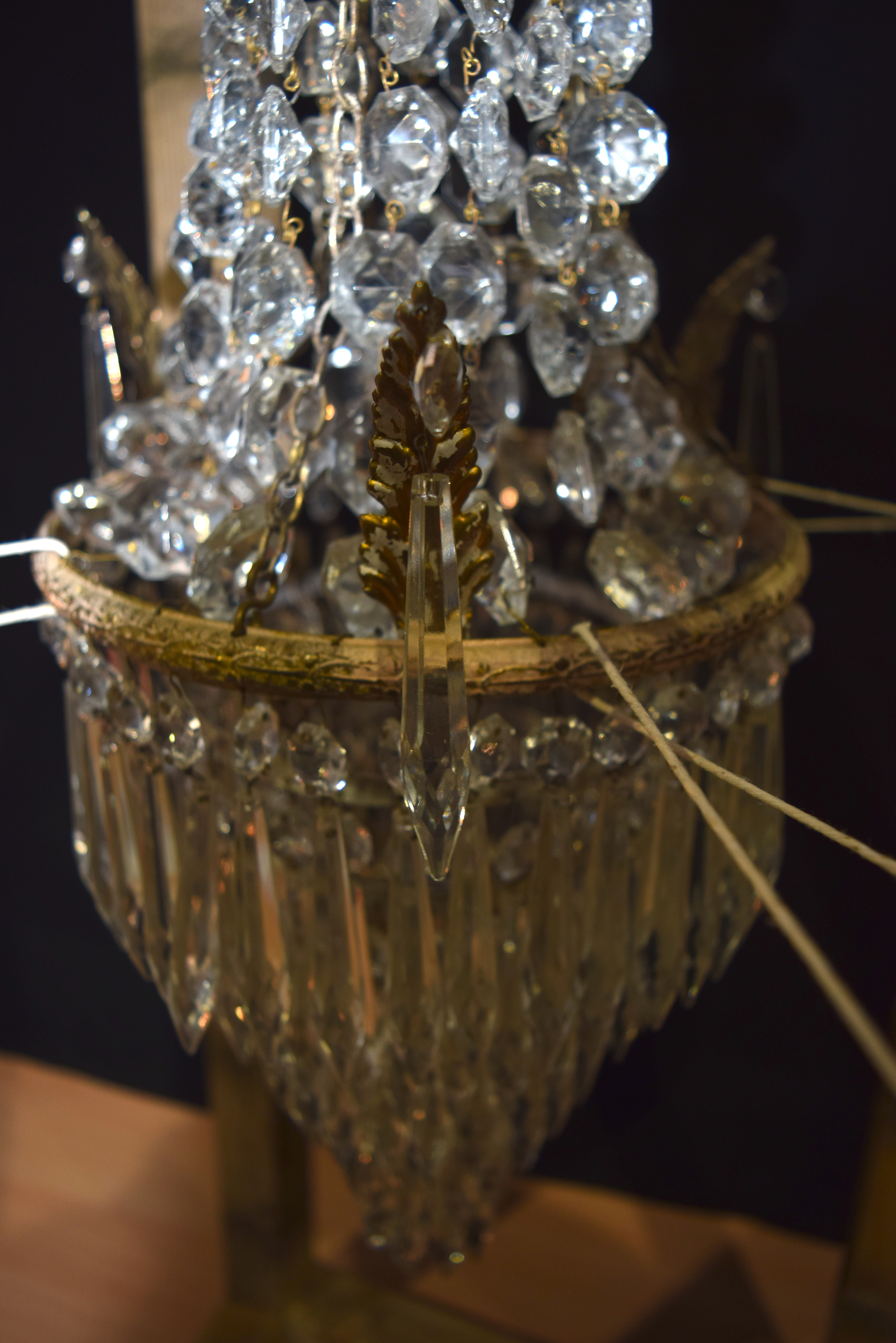 A 5 tier crystal glass chandelier with a cage of crystal and Cherubs 56 x 21cm - Image 2 of 5